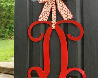 Door Decoration - Door Hanger - Metal Monogram Wreath