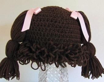Cabbage Patch wig-hat dk br 12+ mon - you choose ribbon color