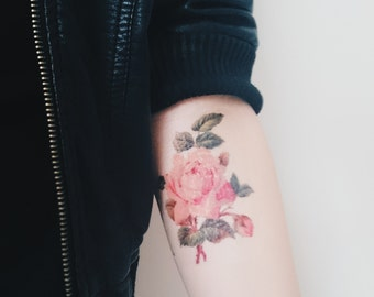 Rose Tattoo - Spring Vintage Floral Temporary Tattoo - Vintage Flower Tattoo - Vintage Rose