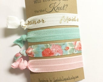 Will You be my Maid of Honor Card - Hair Tie Favors - Maid of Honor Thank You Gift - Maid of Honor Proposal - Maid of Honor Hair Tie Favors