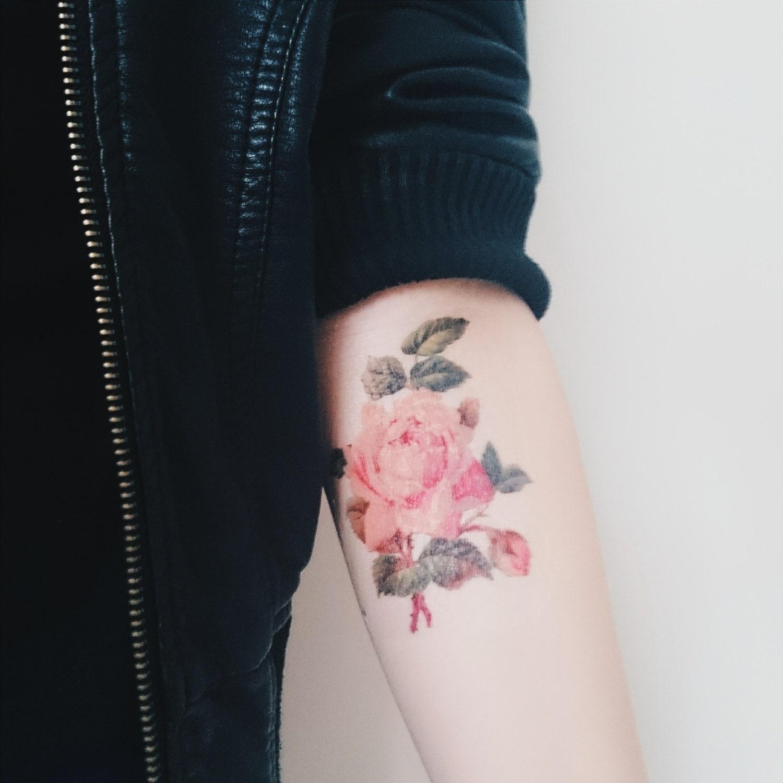 6745127d330e3 Rose Tattoo Spring Vintage Floral Temporary Tattoo Vintage