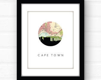 Cape Town, South Africa map | Cape Town art | Cape Town skyline | travel poster | vintage map print | old map decor | map art