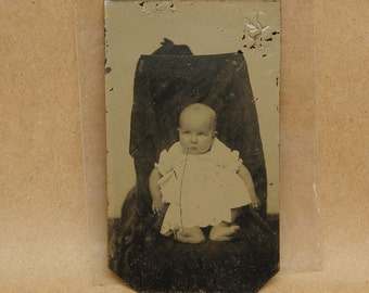 Hidden Mother Tintype Photograph of a Baby Antique Vintage