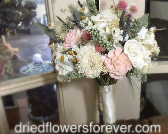 Dried Flower Wedding Bouquet - Pink, Cream, Blush, Moss Green, Sola, Lavender, -  Amore Collection