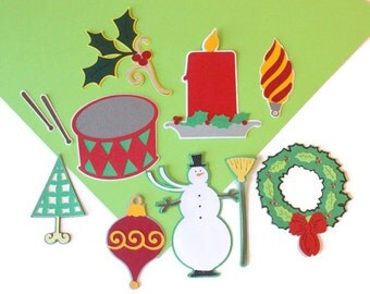 DESTASH lot - 8 Christmas themed die cuts (TCP200)