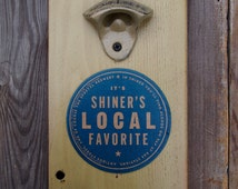 Wall Mount Bottle Opener with Shiner Beer Coaster - OOAK - Painted Mason Jar Cap Catcher - USPS Priority 1 to 3 Day Shipping