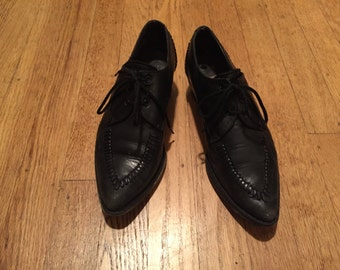 Vintage Guess Leather Black Oxford Dress Bootie Shoes