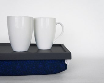 Breakfast serving pillow tray, laptop stand, riser - graphite grey with navy blue and indigo spotted Pillow