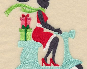 Christmas Fashionista on a Scooter with Presents Gifts Embroidered Flour Sack Hand/Dish Towel
