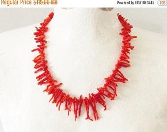 SaLe Vintage Red Coral Branch Necklace