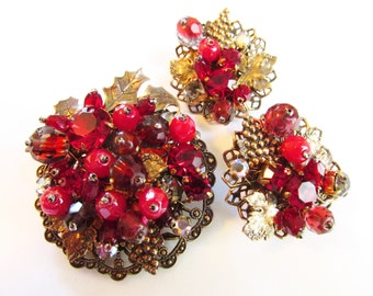 Vintage Miriam Haskell Cranberry Red Rhinestone Givre Beaded Brooch Earrings unsigned 1930s
