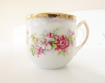 Antique Victorian White Porcelain Mustache Teacup Pink Flower Gold Gilded