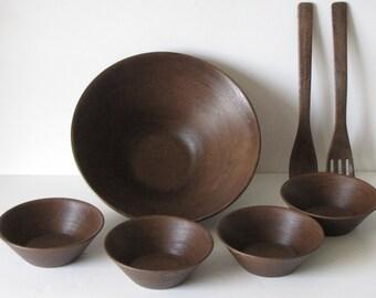 Vintage Faux Wood Salad Bowl Set - 1 large salad bowls, 4 bowls, salad servers