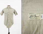 Vintage LL Bean Safari Shirt Khaki Poplin Short Sleeve Signature Button Up - Size Small