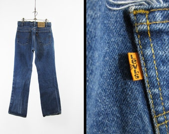 Vintage 80s Levi's Jeans 517 Orange Tab Dark Wash Denim Made in USA - Size 32 x 30