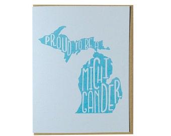 Michigan card, michigander greeting card, greetings from michigan, handmade greeting card