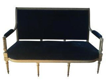 Settee. French Canape Antique Sofa Blue Velvet Nailhead Trim