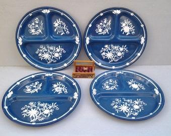 Vintage enamelware plates - enamelware divided plates - graniteware plates - camping plates - blue kitchen - glamping - outdoor dining