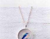 Clearance Sale Sterling BLUEBIRD OF HAPPINESS Necklace / Silver Bird Jewelry / Illustrated Art Jewelry