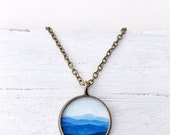 Clearance Sale BLUE MOUNTAIN NECKLACE Bronze / Nature Necklace / Mountain Art Pendant / Blue Jewelry / Graduation gift / Art Necklace