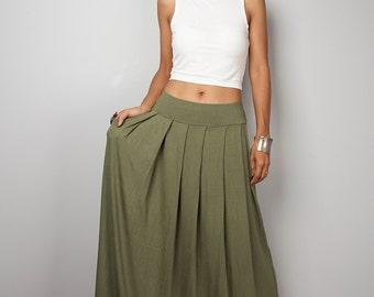 Maxi Skirt - Khaki Green Skirt-  Long Soft Khaki Skirt : Urban Chic Collection No.2