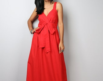 Red Dress / Long Red Dress / Red Cocktail Dress / Bridesmaid Dress /Red Maxi Dress : Love Party Collection