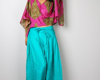 Wide Leg Pants / Aqua Linen Pants / Cotton Pants Casual Wear :  Soul of the Orient Collection