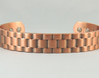 Basket Weave Heavy Copper Magnetic Bangle