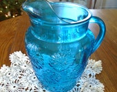 Vintage Blue Glass Pitcher / Antique Blue Glass Pitcher With Flower Design / Lemonade Pitcher / Iced Tea Pitcher / Ice Lip / Ribbed Handle