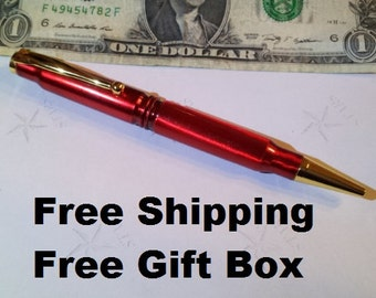 Candy Apple Red 308 Caliber ink pen groomsmen gift, fathers day or graduation gift for men sale free shipping