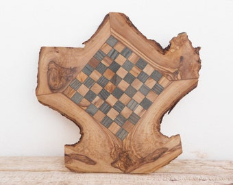 Wooden Rustic Chess Set Natural Edges Chess Board, Dad gift, Gift for Him, Valentines Day Gift