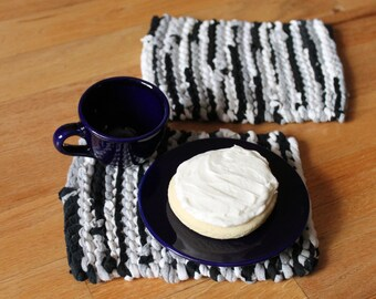 Black, Gray, & White Snack Mats Silver Charcoal Grey Mini Mug Rugs Artisan Knitted Upcycled TShirts (set of 2) --US Shipping Included