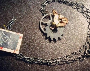 Vintage Machine Gears Necklace