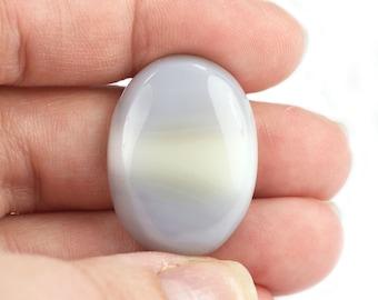 Blue Lace Agate Oval Cabocon Blue Grey Natural Semi Precious Gemstone