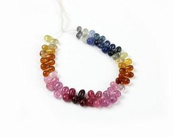Sapphire Smooth Teardrop Briolettes 4 Natural Multi Color Pink Yellow Orange Blue Precious Gemstones
