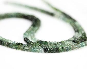 Tourmaline Micro Faceted Rondelles 10 Rare Shaded Green Blue Semi Precious Gemstone