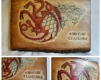 Game of Thrones Stark Targaryen plaque