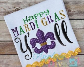 Happy Mardi Gras Y'all  Embroidery Design Machine Applique