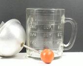 Glass Food Chopper Measuring Cup Aluminum Red Wooden Knob Hazel Atlas Vintage 1940s