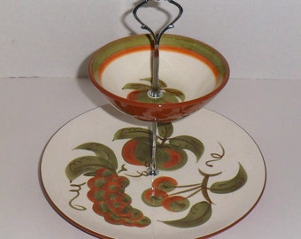 Stangl Pottery 2 Tier Tidbit Serving Tray and Bowl Orchard Song Hand Painted Vintage 1960s