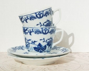 Blue and White Demitasse Cups and Saucers Set of 2 Blue Onion Blue Danube Germany