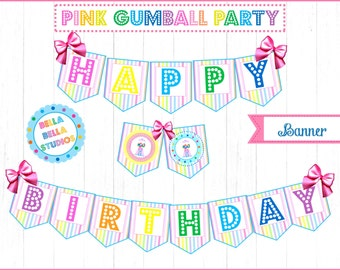 GUMBALL BUNTING ~ Printable Instant Download
