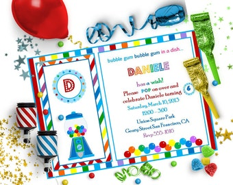 GUMBALL INVITATION ~ Personalized Printable Download