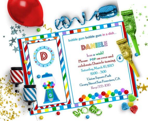 gumball editable invitation bubble gum party editable diy