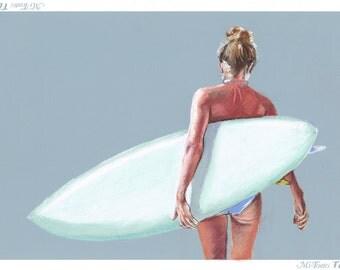 50 x 70 cm - Custom Pastel Surf Art