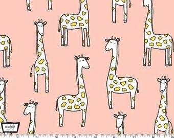 Baby Zoo FLANNEL - Gentle Giraffes Blossom  Pink Blush from Michael Miller