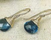 December Birthstone, Briolette Drop Earrings, London Blue Topaz Drop Earrings, Bridal Blue Earrings, Birthday/Anniversary Gift for Her
