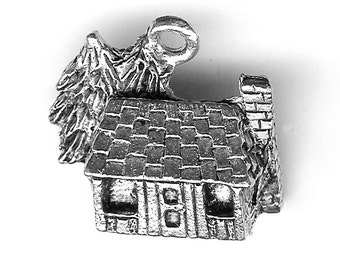 LOG CABIN Charm. Silver Plated. 3D With Pines. Cottage. Made in the USA.