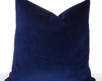 Solid Indigo Velvet Pillow Cover Throw Pillow Solid Blue Indigo Lumbar Pillow Cover Choose Size