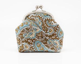 Cosmetic purse - Kiss Lock Purse - Silver Frame - Frame Coin Purse - Paisley Cotton Purse